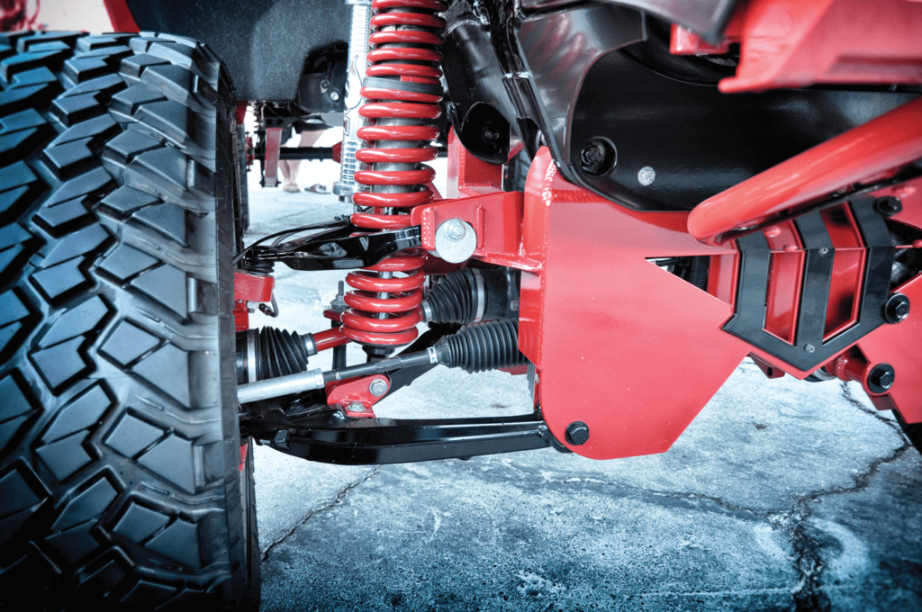 Drop-down brackets are used to help gain ground clearance with double wishbone systems