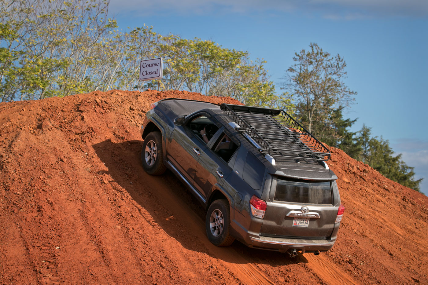 2019 Overland Expo East: A 4Runner on a failed hill climb on the practice course.