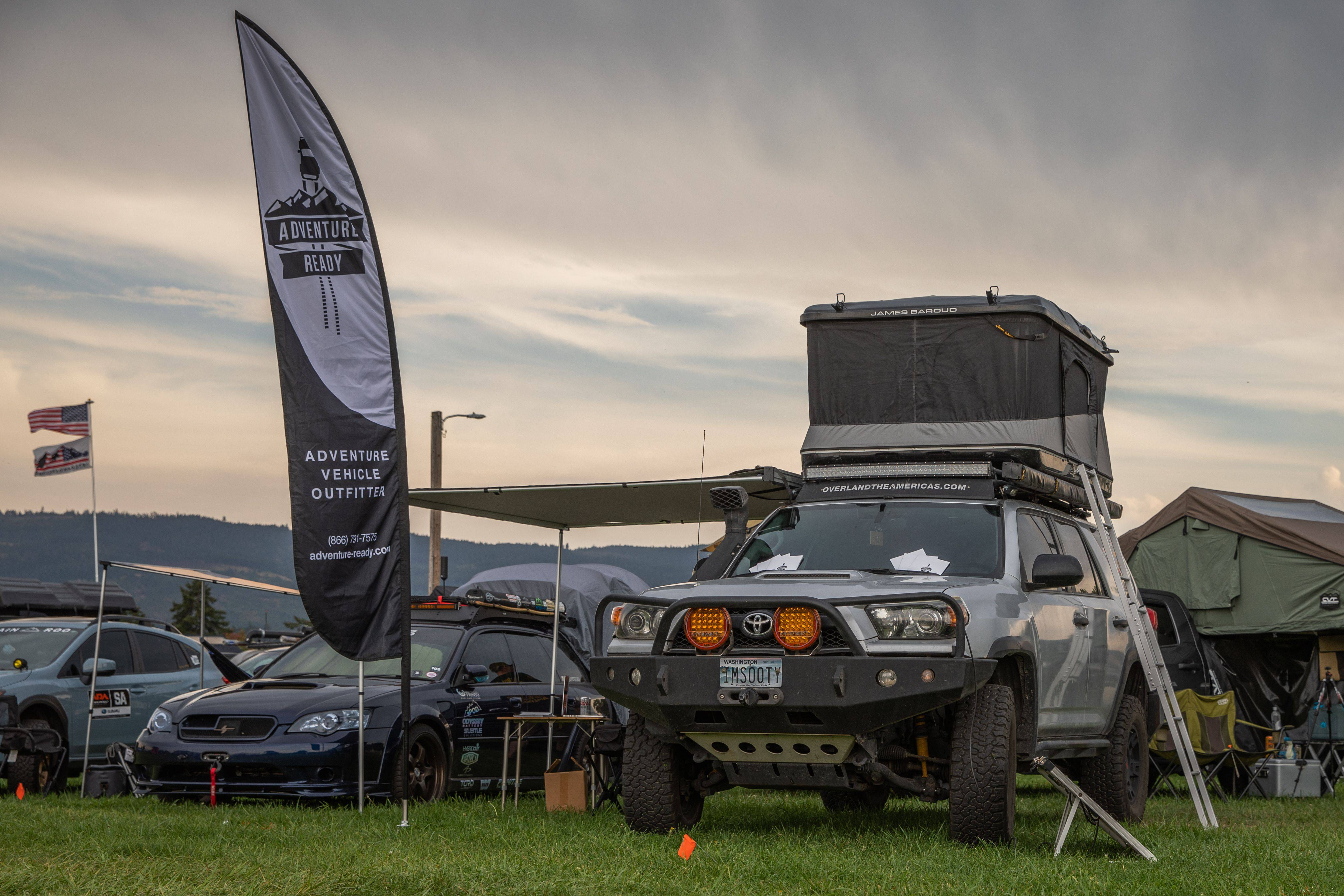 Toyo Tires Trailpass: Adventure Ready banner and 4Runner with rooftop tent