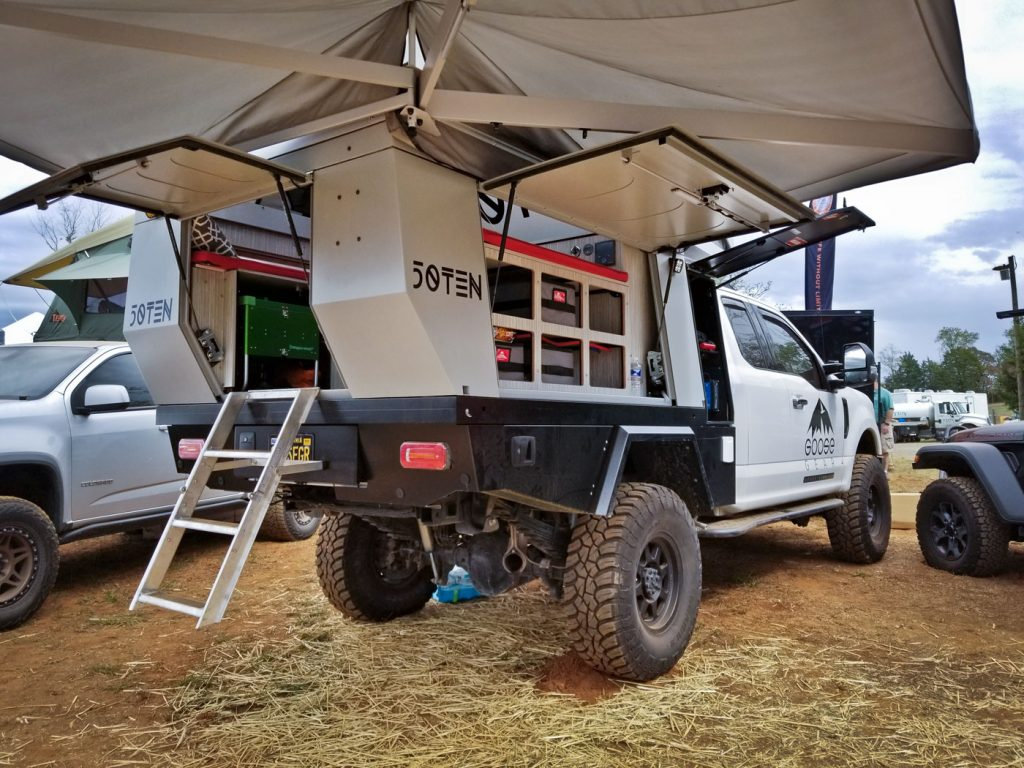 2019 Overland Expo East: The Fifty Ten camper on a F350 at the Goose Gear booth.