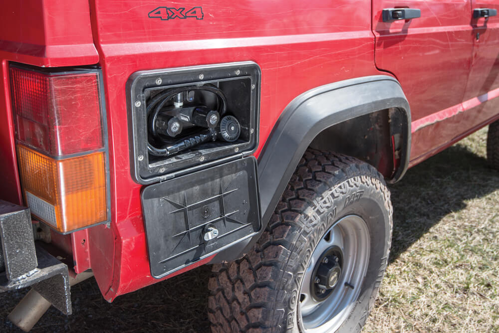 Overland Jeep Cherokee XJ has a pressured hot water shower system