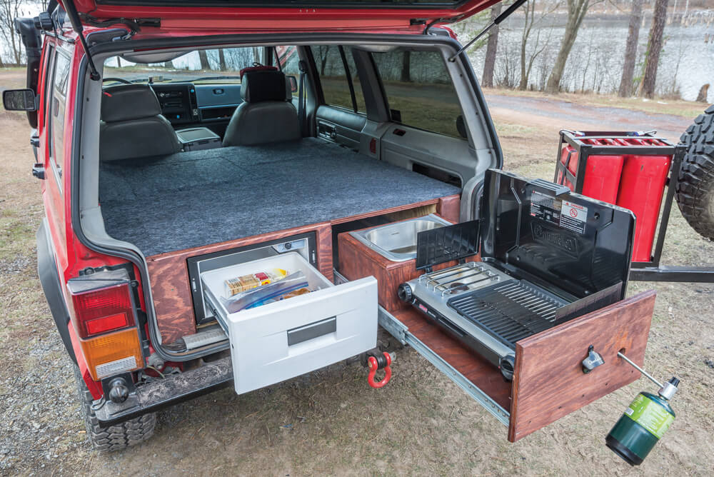 A full kitchen setup was built into the rear
