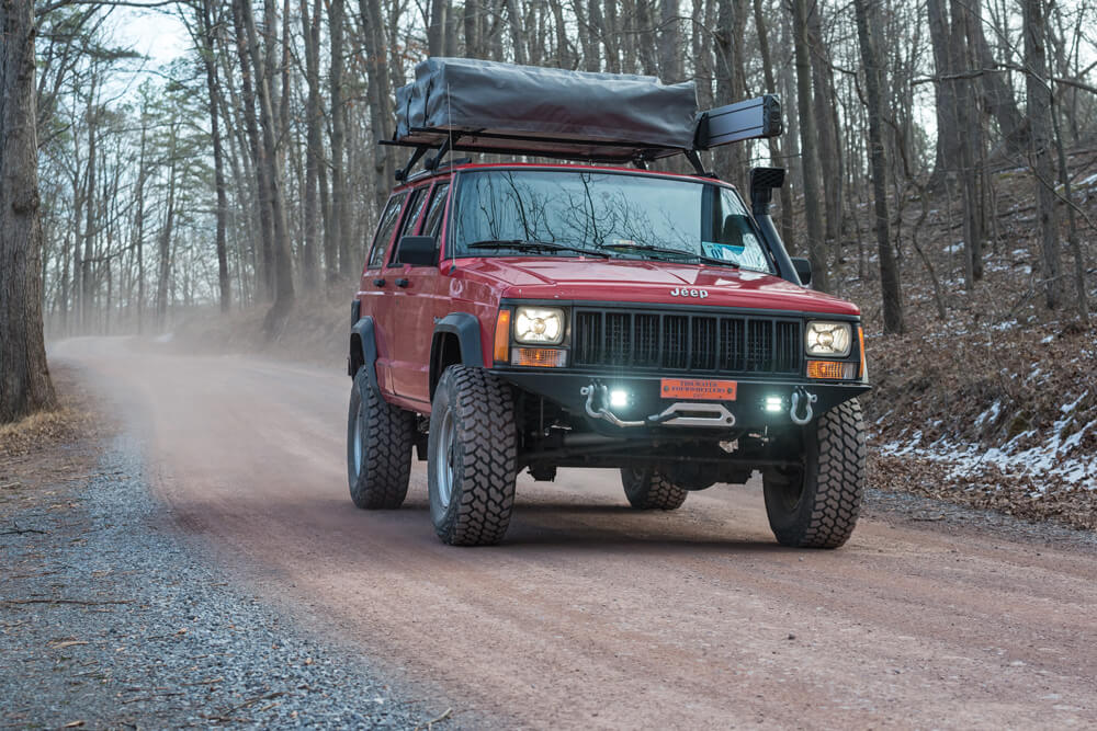 The Rough Country lift and Nexen tires help the XJ get where it needs to go