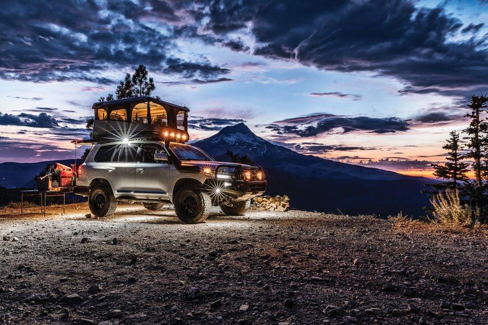 Toyota Land Cruiser 200 Series sunset campsite tent