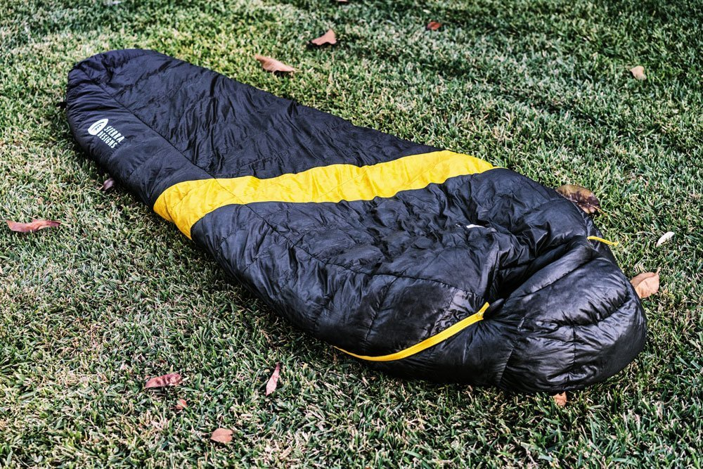 Sierra Designs Nitro black and yellow winter sleeping bag
