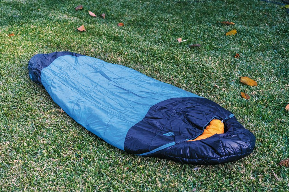 North Face The One Bag blue winter sleeping bag