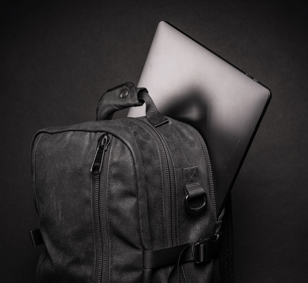 DSPTCH Daypack strapped with laptop