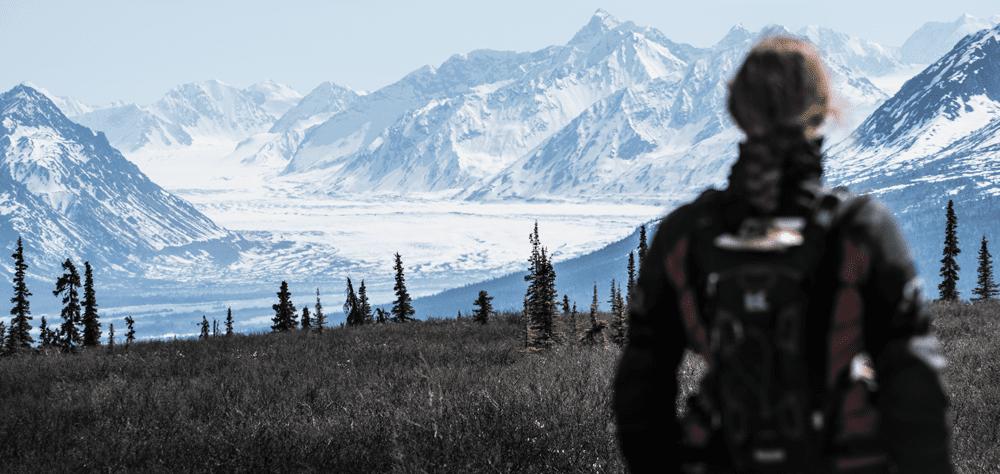 Lisa Morris looking at snowy mountains