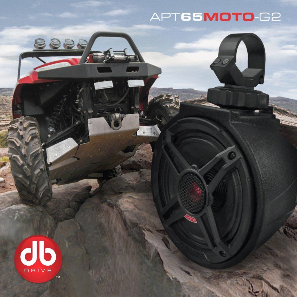 red UTV and DB Drive APT65MOTO-G2 on rocks