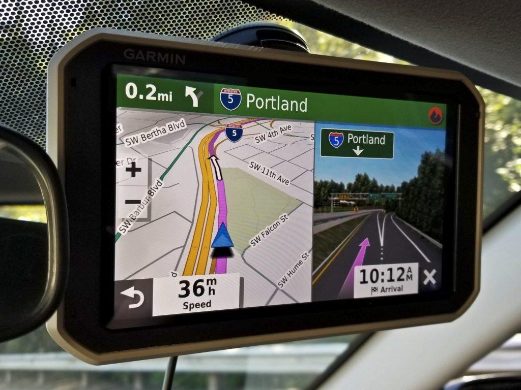 Garmin Overlander mounted to windshield