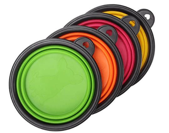 collapsible food and water bowls in camping essentials for dogs // tread magazine