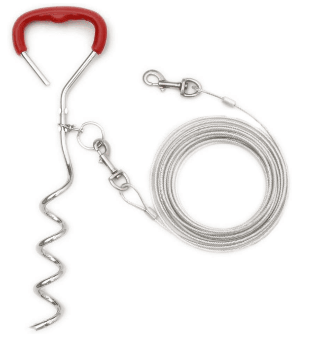tie-out cable with stake in camping essentials for dogs // tread magazine