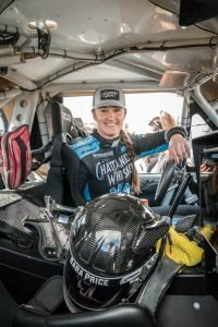 Sarah Price sits inside her race vehicle at 2020 MInt 400.