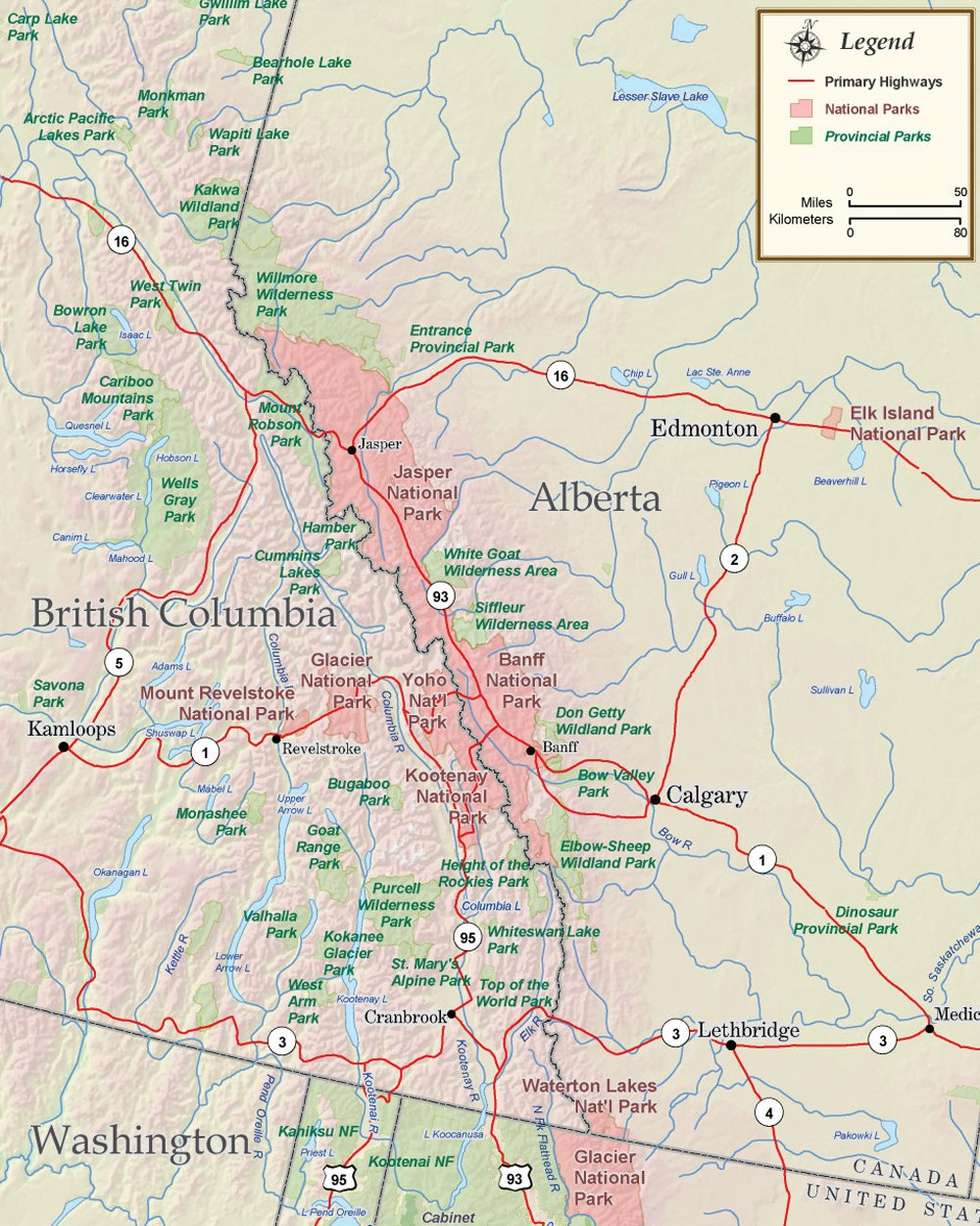 Map of Alberta, Canada