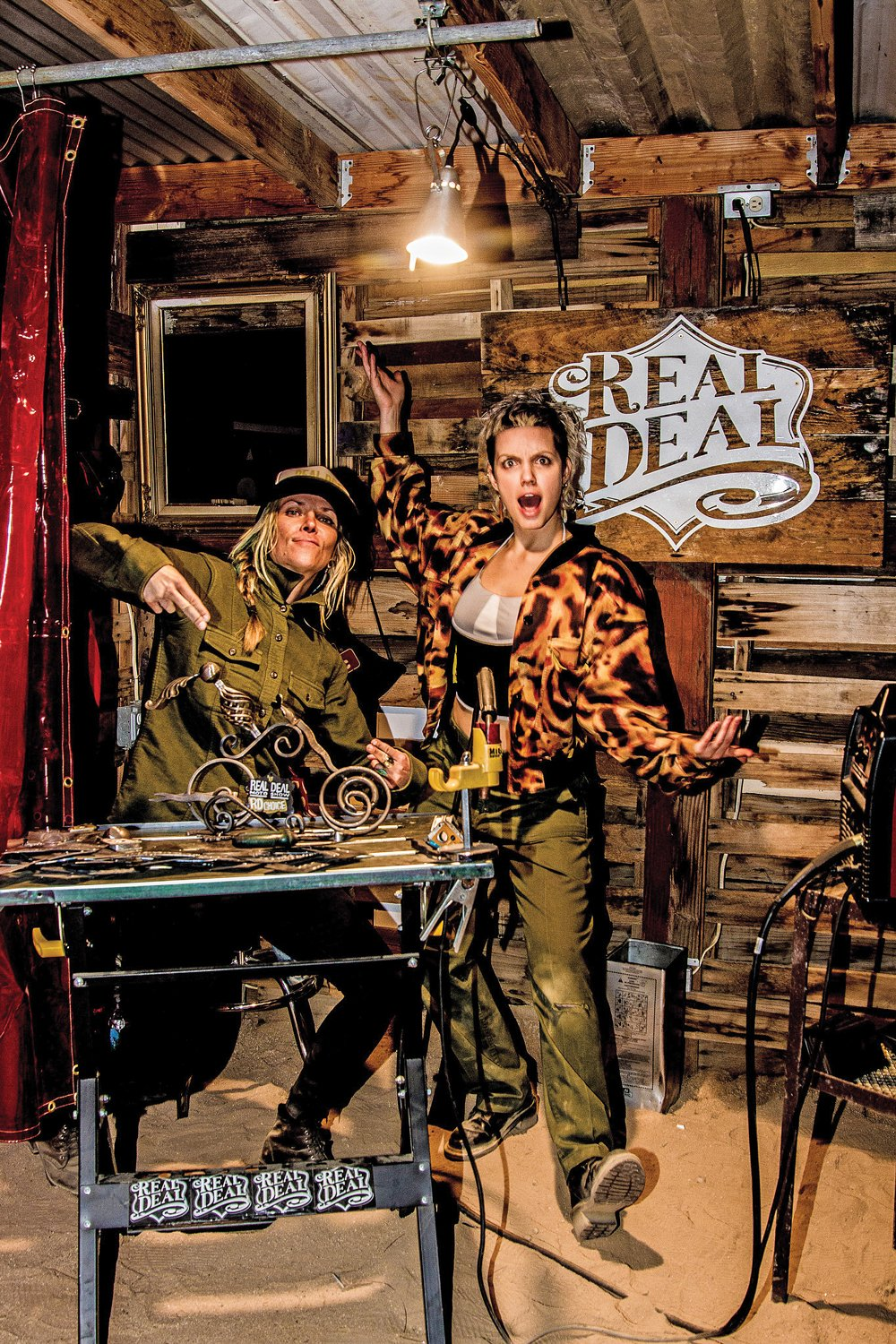 Jessi Combs and Thea Ulrich welding booth