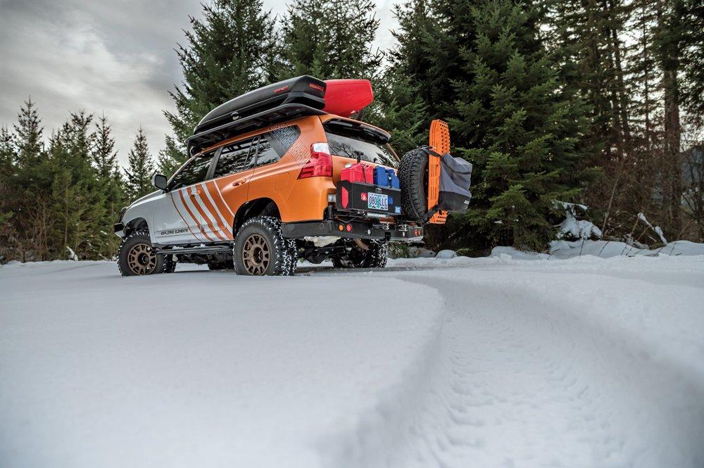 fresh snow tracks with the Lexus GX460