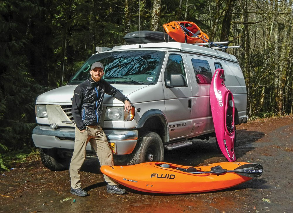 Bryon Dorr with his Sportsmobile and kayaking supplies