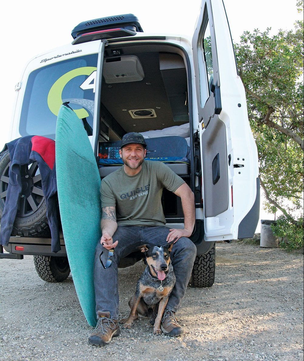 Adventure Chef Adam Glick with his dog, Tex