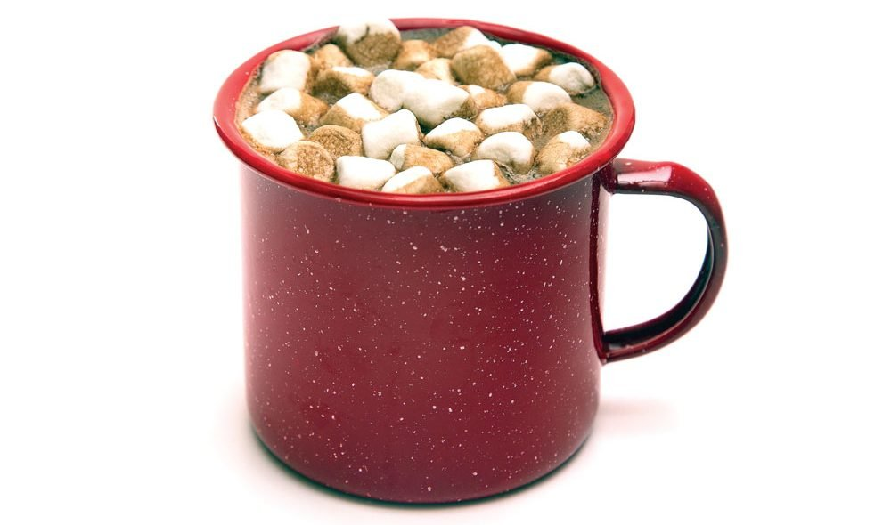 White Russian Wilderness Coffee in red mug with marshmallows