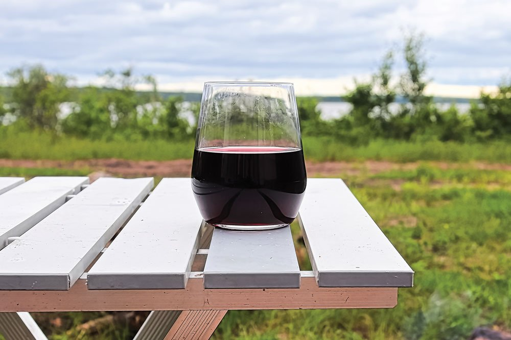 glass of wine at the campsite