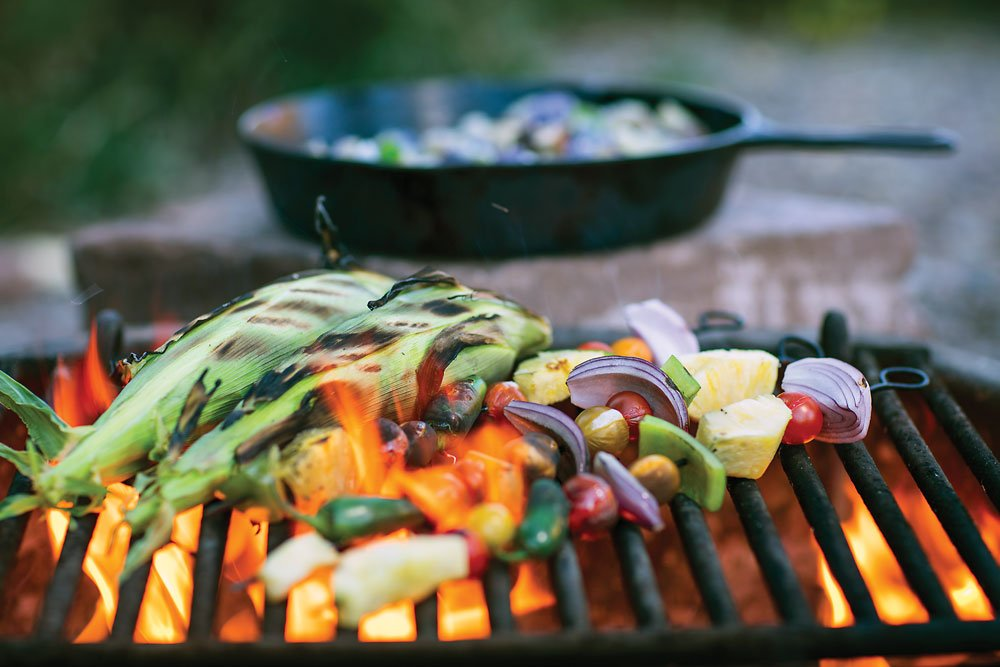 veggie kabobs on the grill