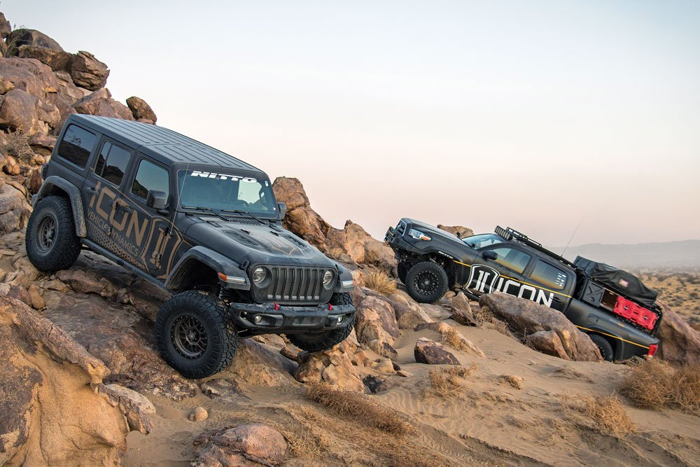 ICON Vehicle Dynamics' vehicles rock crawling