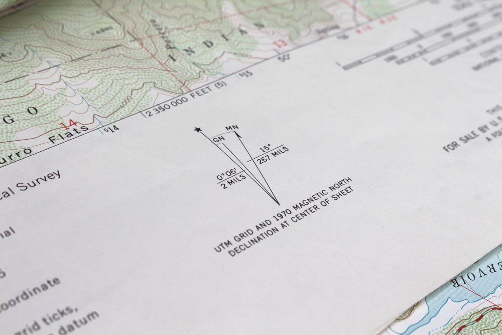 Topographical map with a declination chart