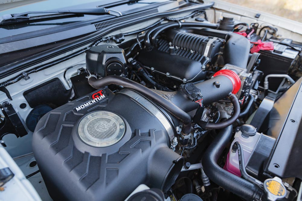 Magnuson supercharger system and AFE Momentum GT air intake in a TRD Off-Road