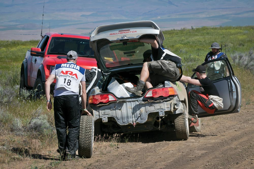 Helping Team CRT after they spun out during the Oregon Trail Rally