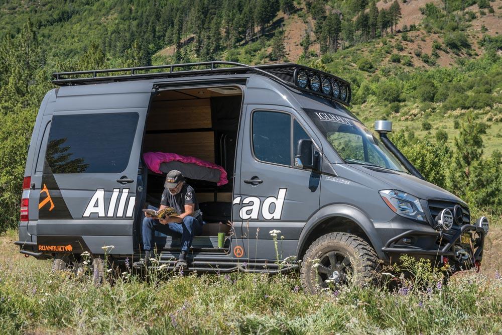 Owner sitting in his Iglhaut Allrad Sprinter van