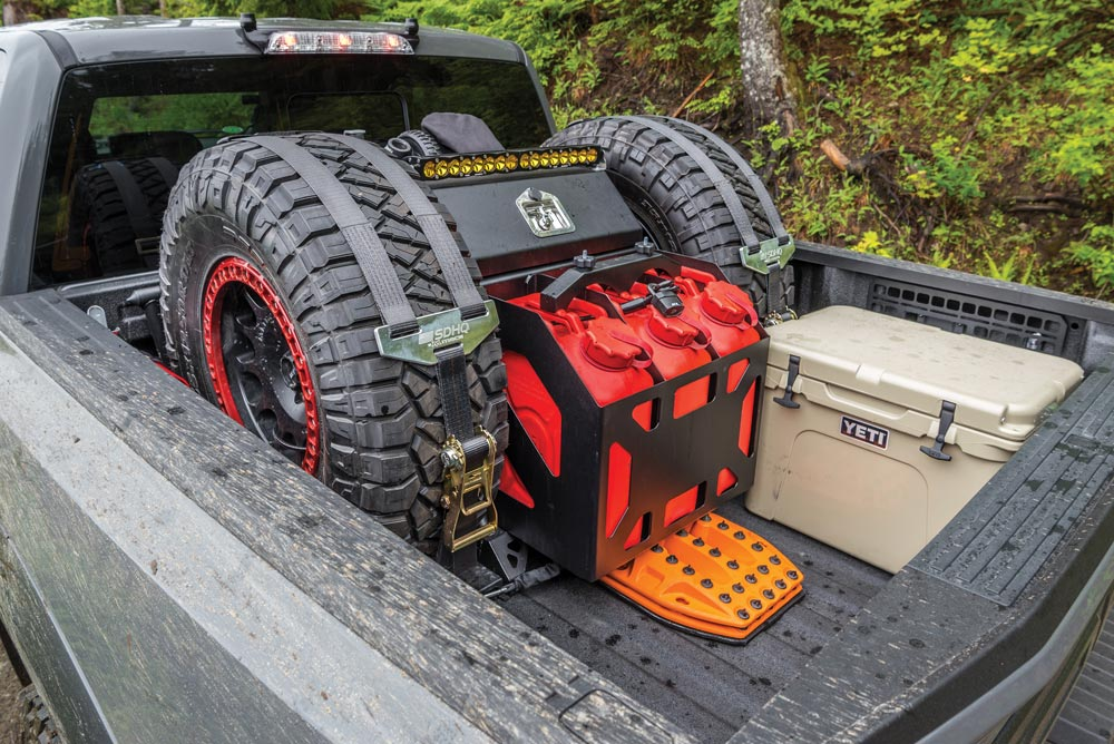 Truck bed with provisions and backup equipment