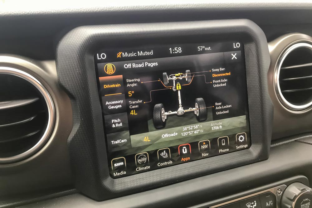 off-road controls inside the Jeep