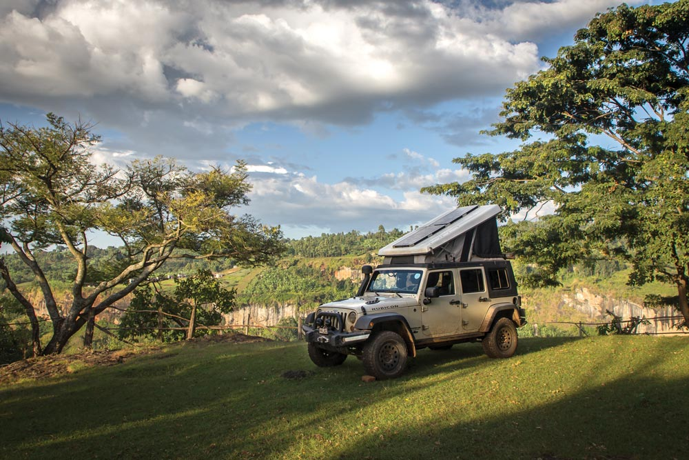 Camping at the foothills of the volcanic Mount Elgon, Uganda