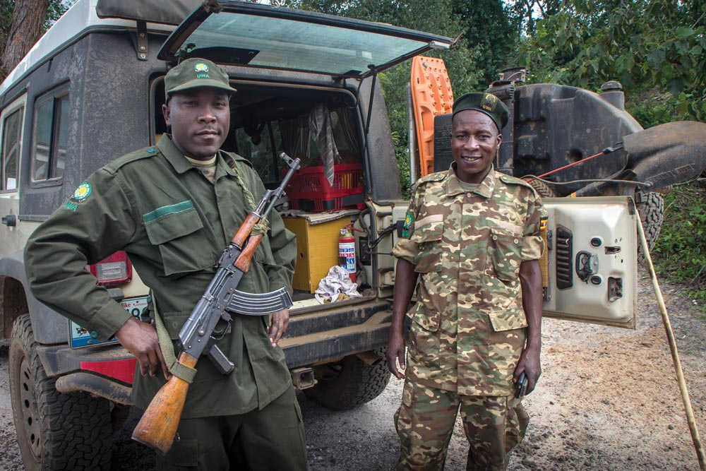 Friendly park rangers with AK-47s in Uganda
