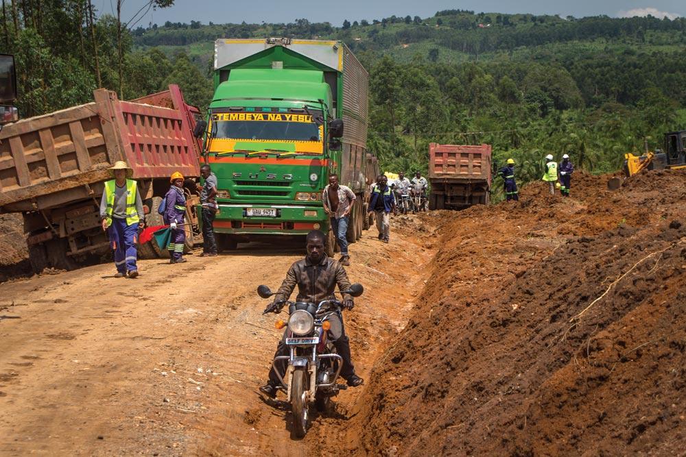 Traveling on dirt roads in Uganda