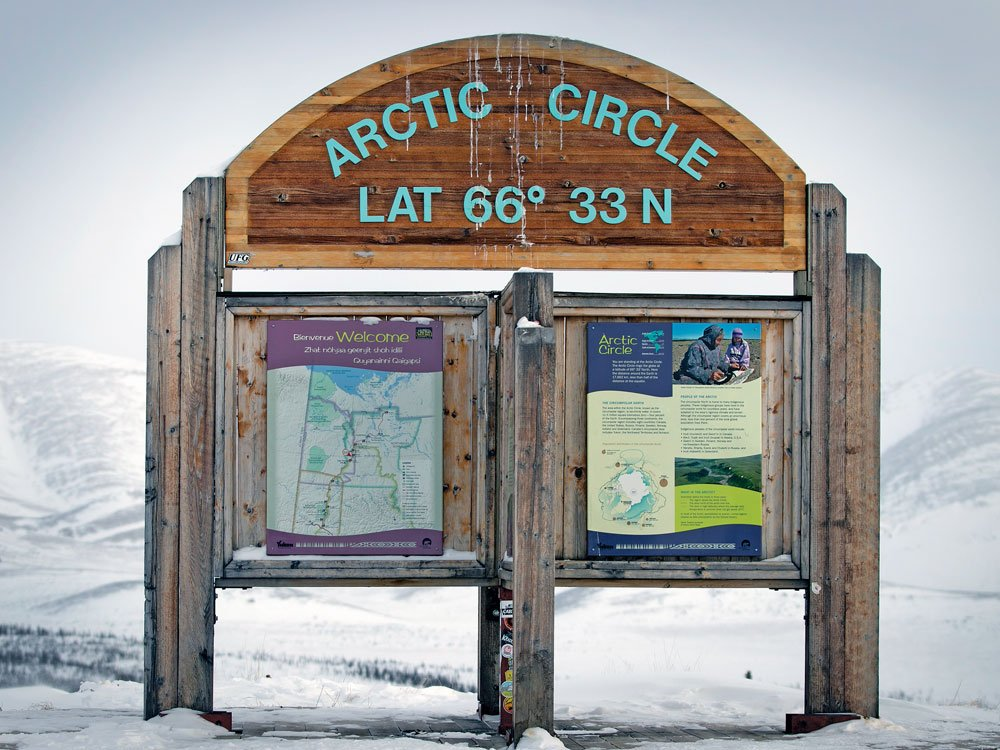 First Arctic Circle sign during the 2020 Alcan 5000 Rally