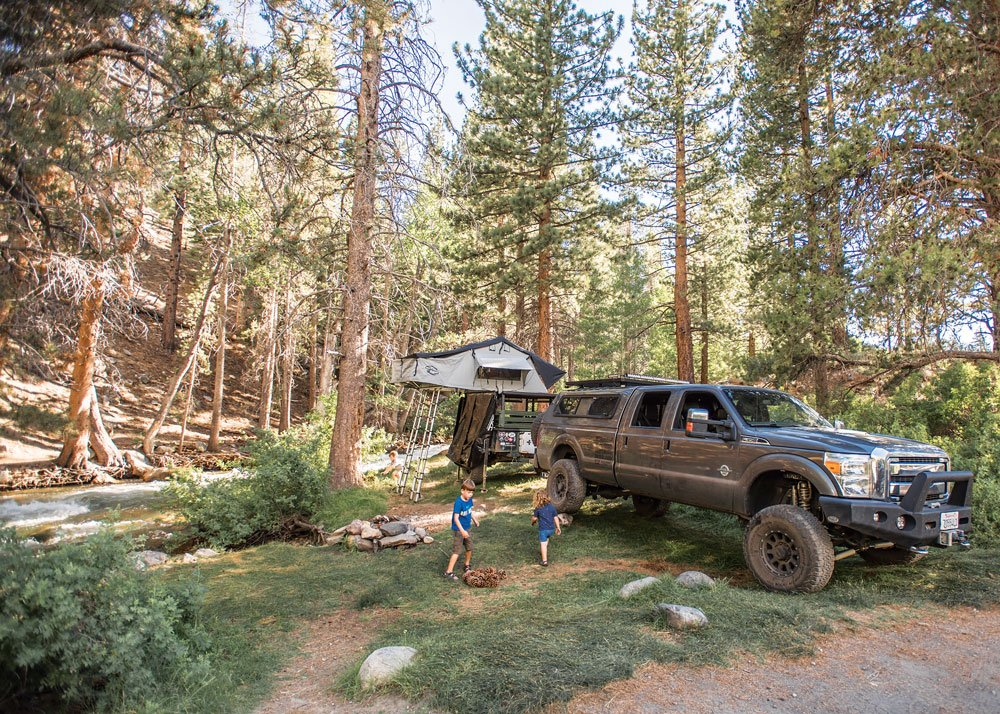 Camping family with a roof top tent