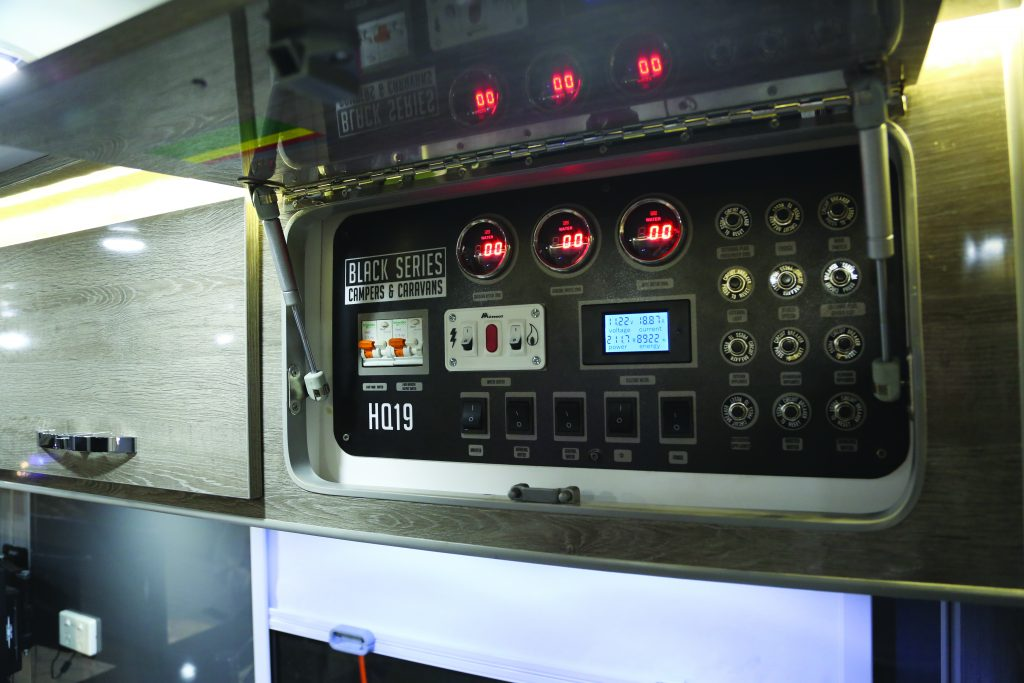 The camper has a full gauge panel inside the cabin