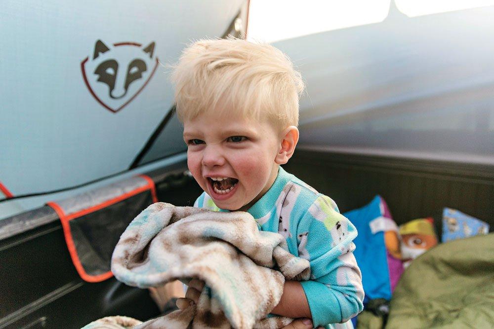 Hoglund's son enjoys camping