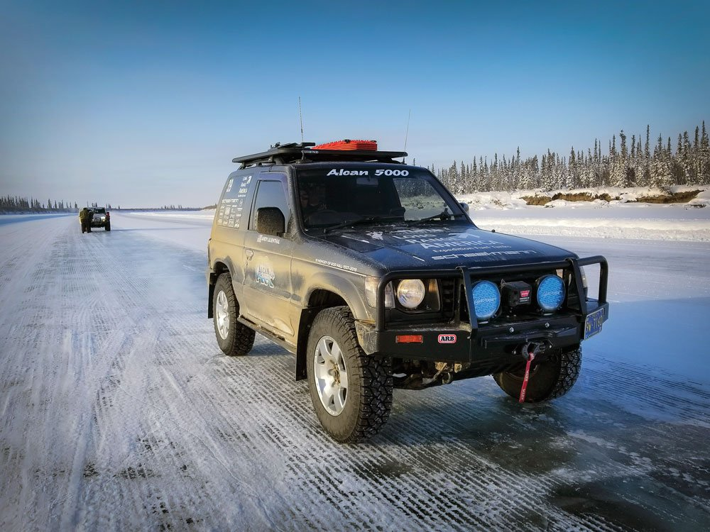 Driving on an ice road on the 2020 Alcan 5000 Rally
