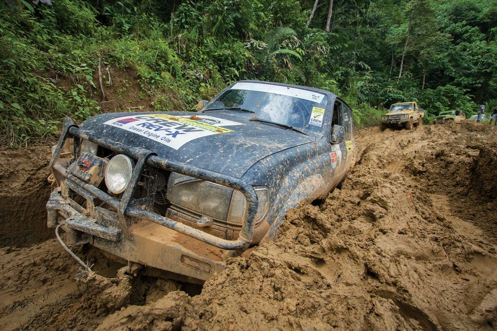 Deep, oily mud was a challenge to get through in the Malaysian Highlands
