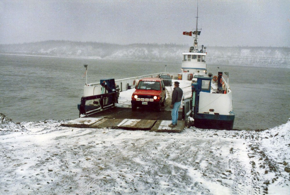 1986 Rod Hall and the Dodge Raider on a ferry