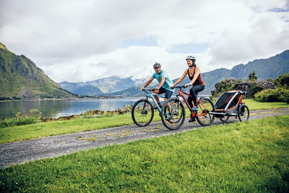 Bike riding with the camping family