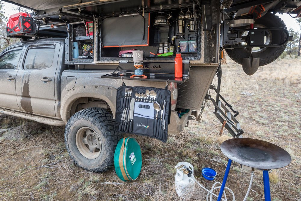 Exterior Kitchen setup on the Khaya Camper