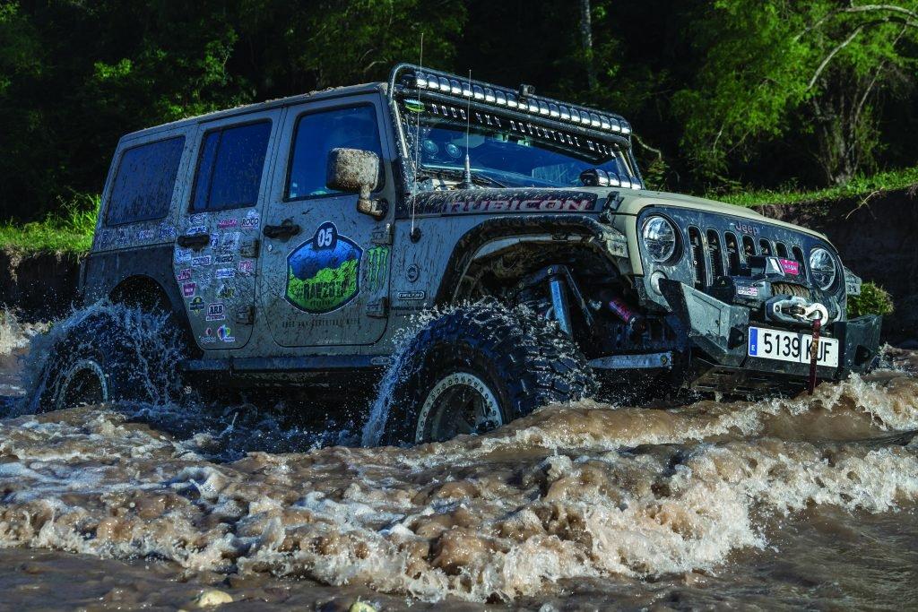 Jeep JKU driving through water