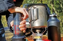 Aeropress Go on Brewing Mode for coffee on the go