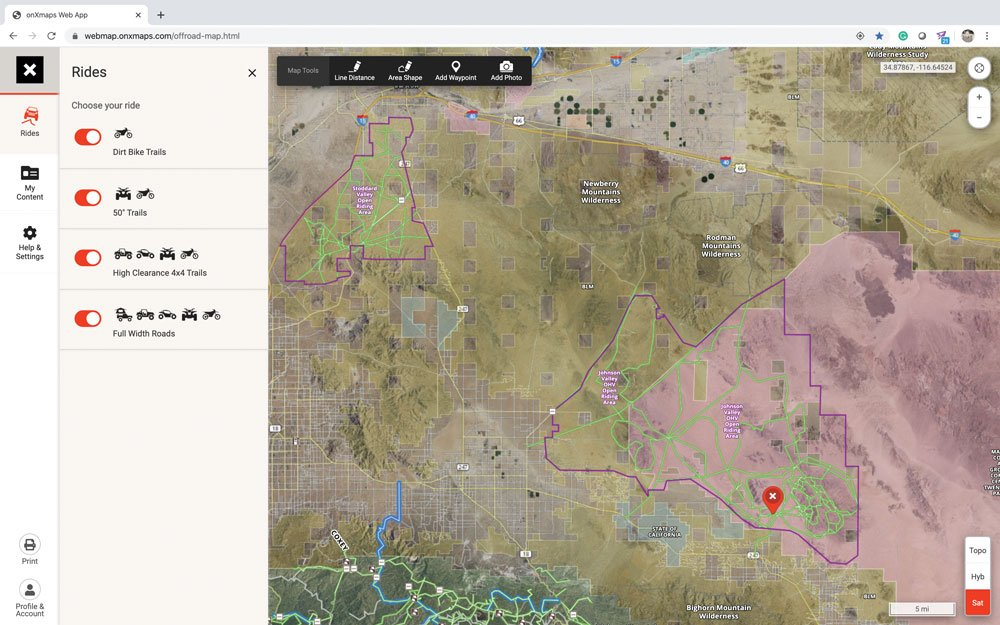 Example of a route in the onX Offroad app