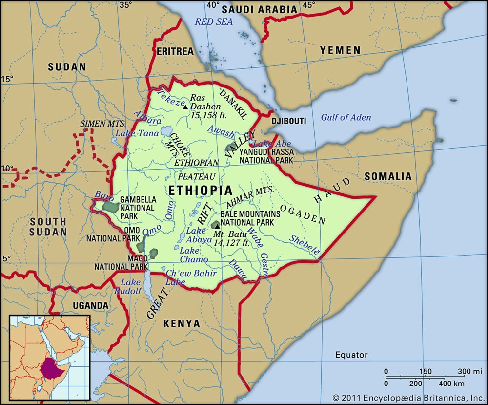 A map of Ethiopia and some surrounding countries