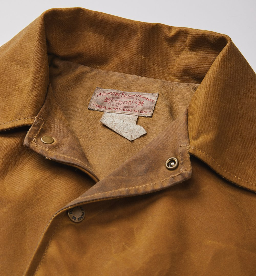 Closeup of the genuine Filson garment tag inside a jacket