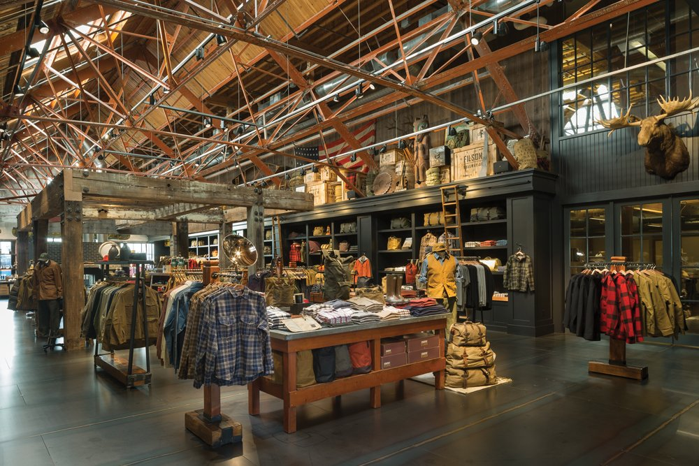 Filson store displaying their many clothing products